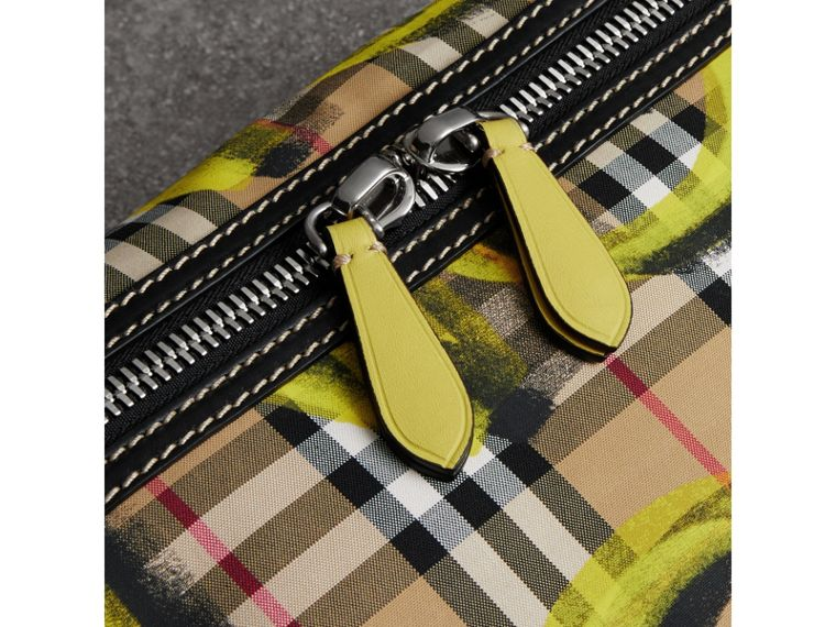 Large Graffiti Print Vintage Check and Leather Bum Bag in Bright Yellow/antique Yellow - Men | Burberry United States - cell image 1