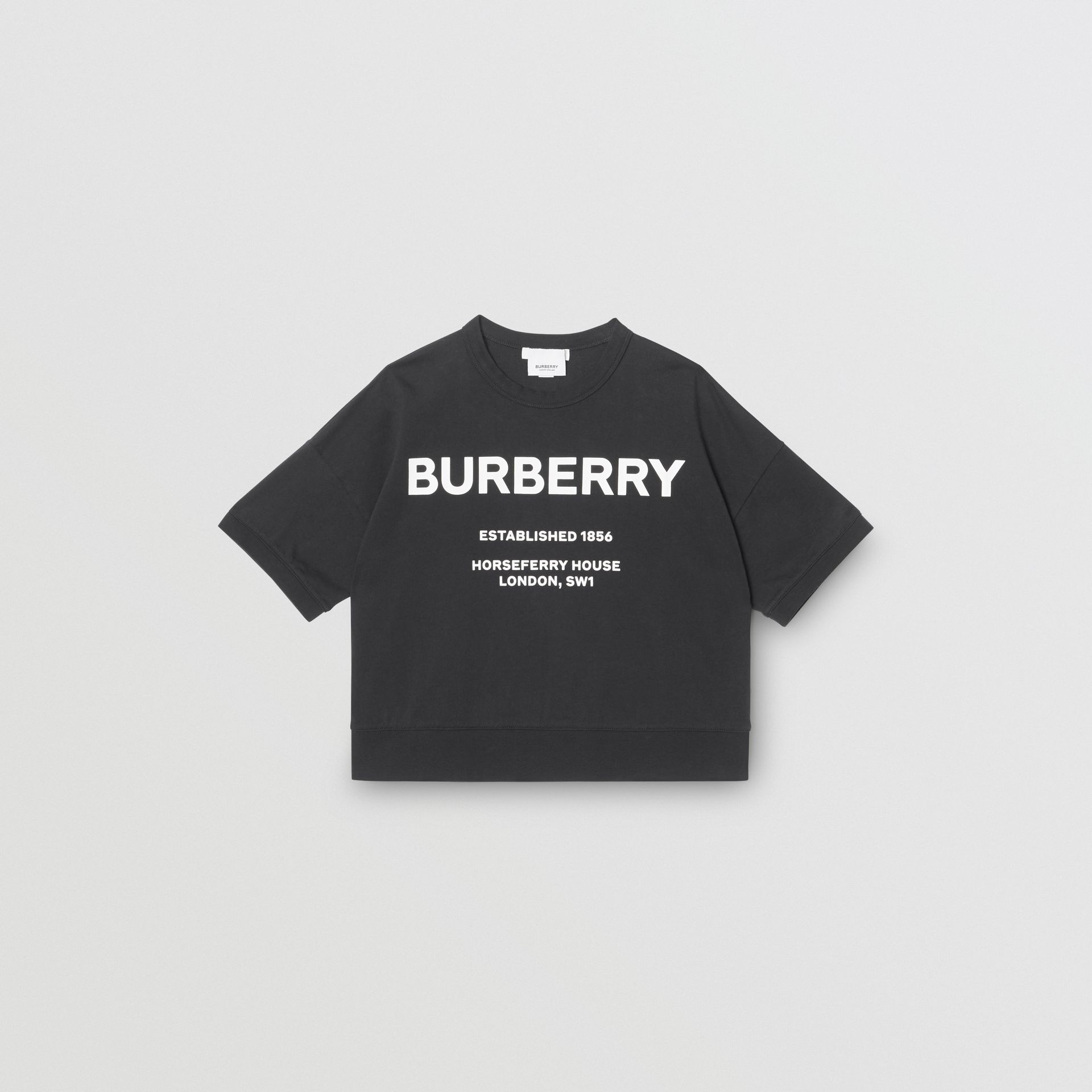 Horseferry Print Cotton T-shirt in Black | Burberry - gallery image 0