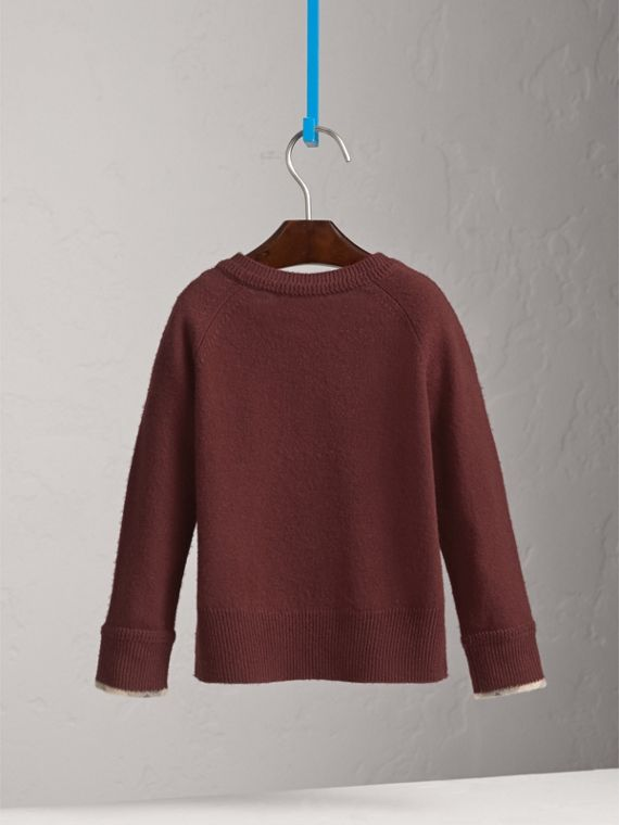Check Cuff Cashmere Sweater in Mahogany Red | Burberry - cell image 3