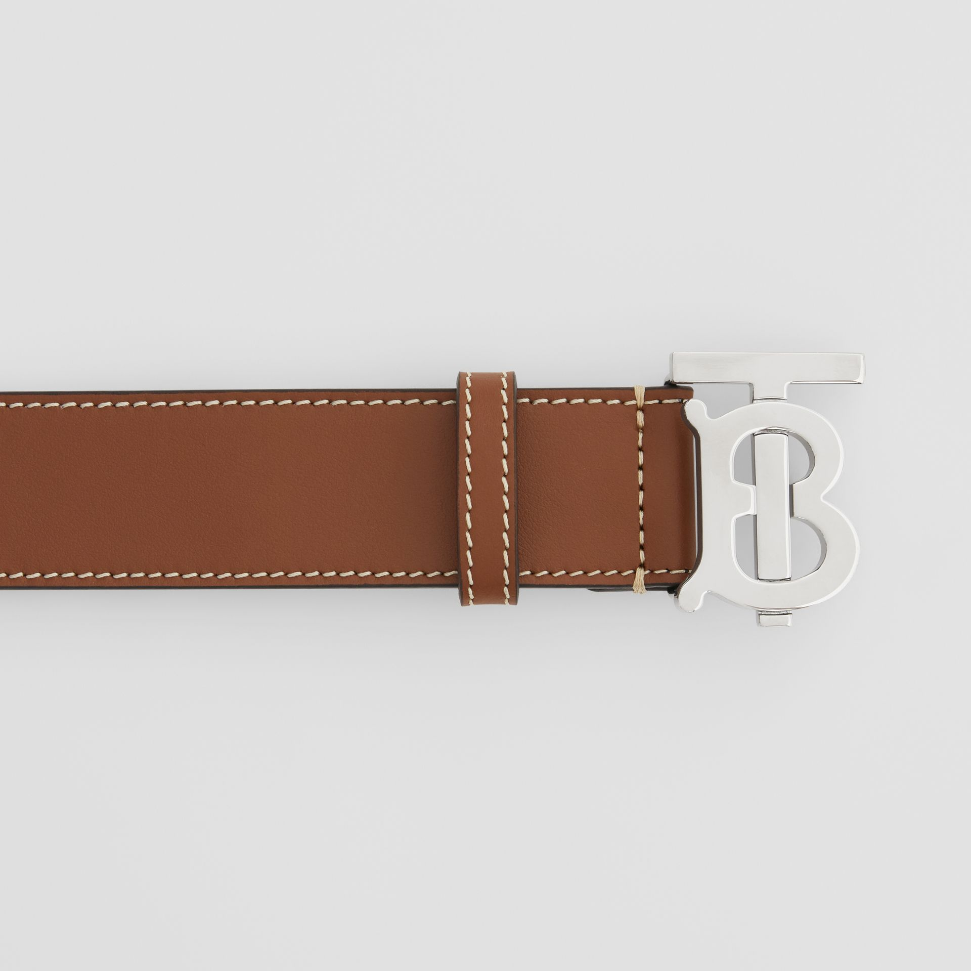 Monogram Motif Topstitched Leather Belt in Tan - Men | Burberry - gallery image 1