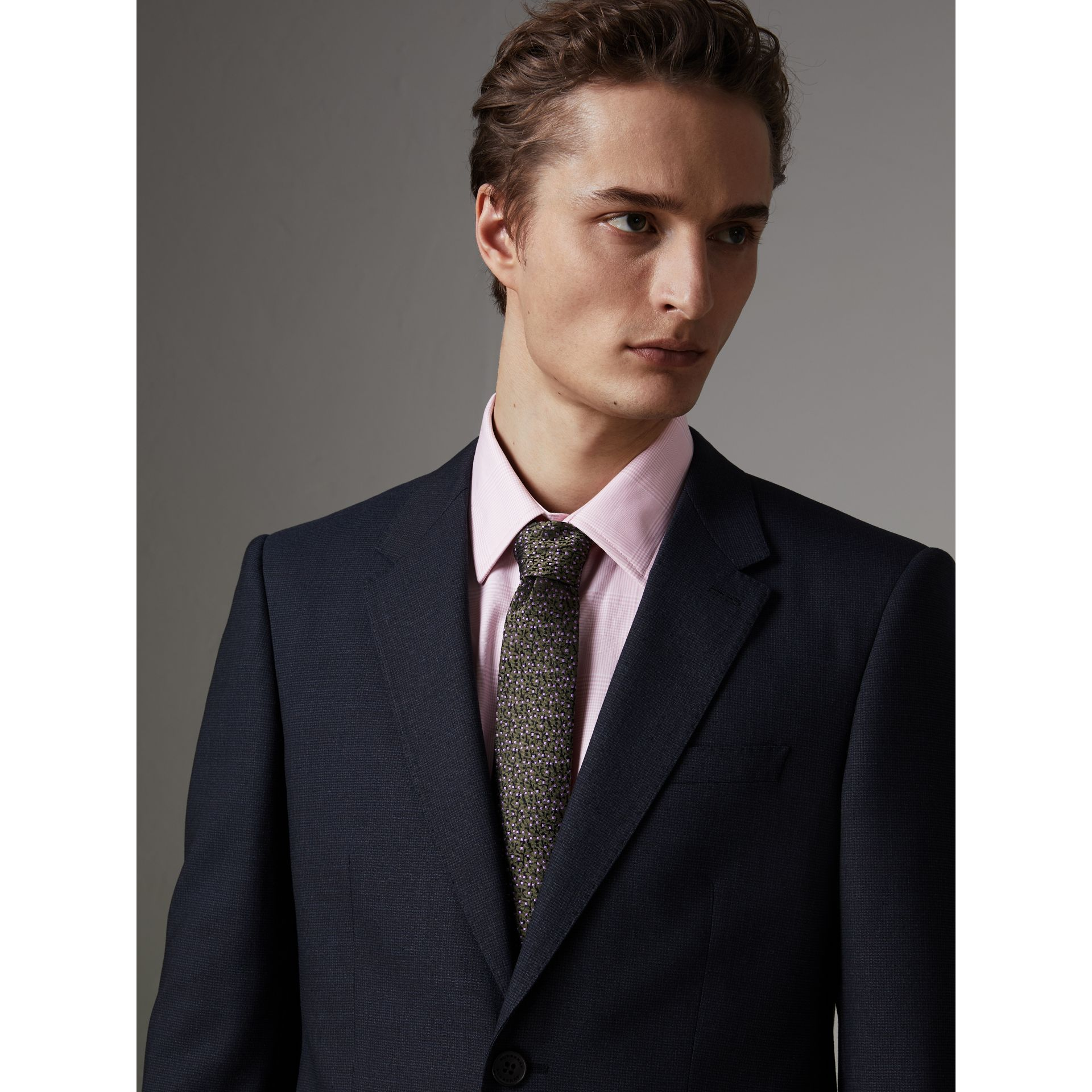 Modern Fit Wool Half-canvas Suit in Navy - Men | Burberry - gallery image 1