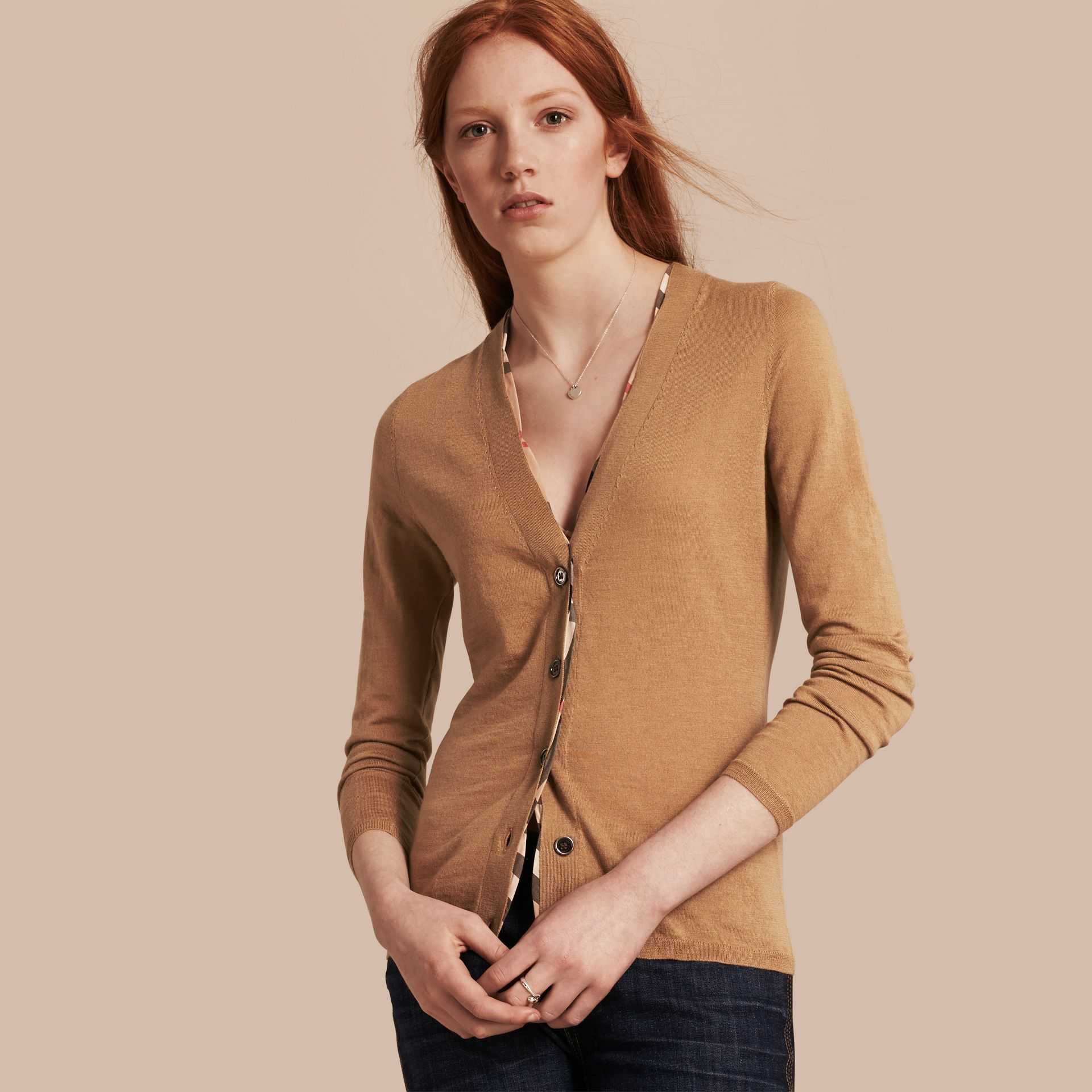 Check Placket Wool Cardigan Camel - gallery image 1