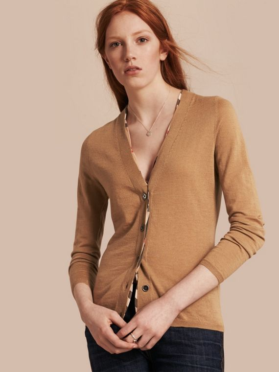 Check Placket Wool Cardigan Camel