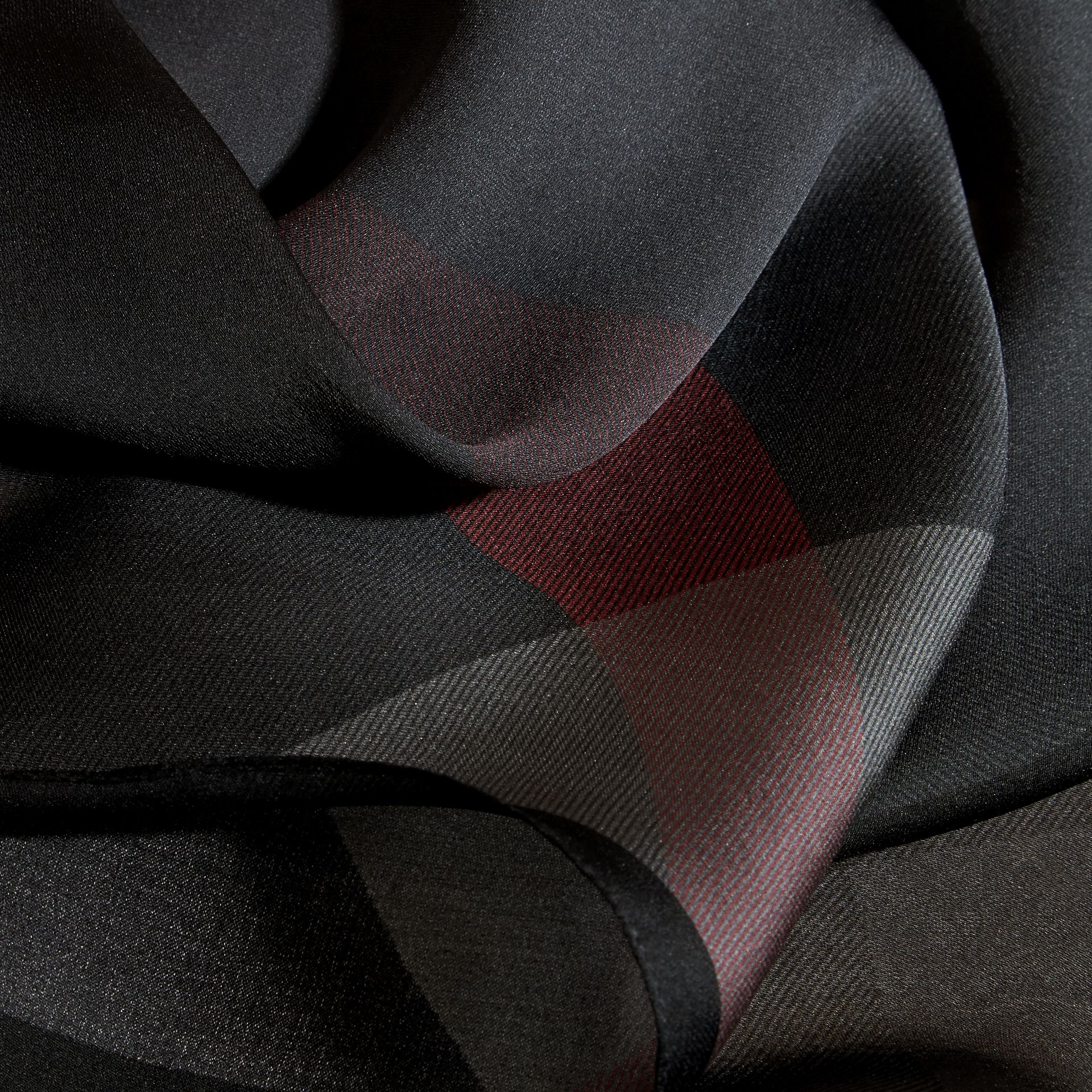 Ombré Washed Check Silk Scarf Charcoal - gallery image 2