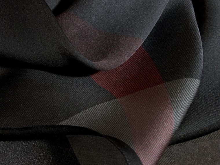 Ombré Washed Check Silk Scarf Charcoal - cell image 1