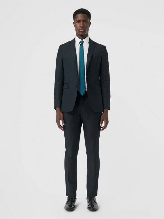 Slim Fit Wool Mohair Silk Suit in Dark Teal