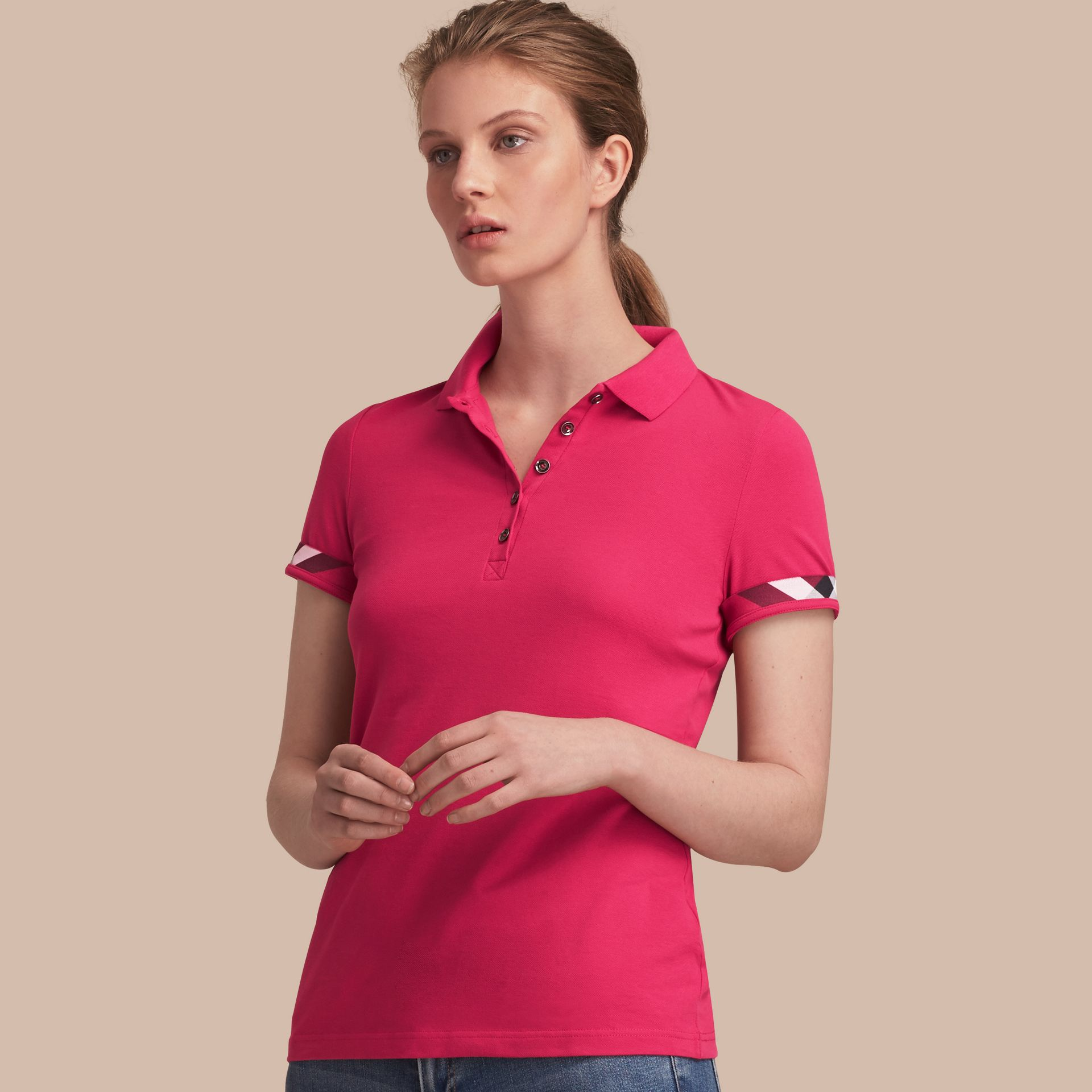 Check Trim Stretch Cotton Piqué Polo Shirt Bright Hibiscus - gallery image 1