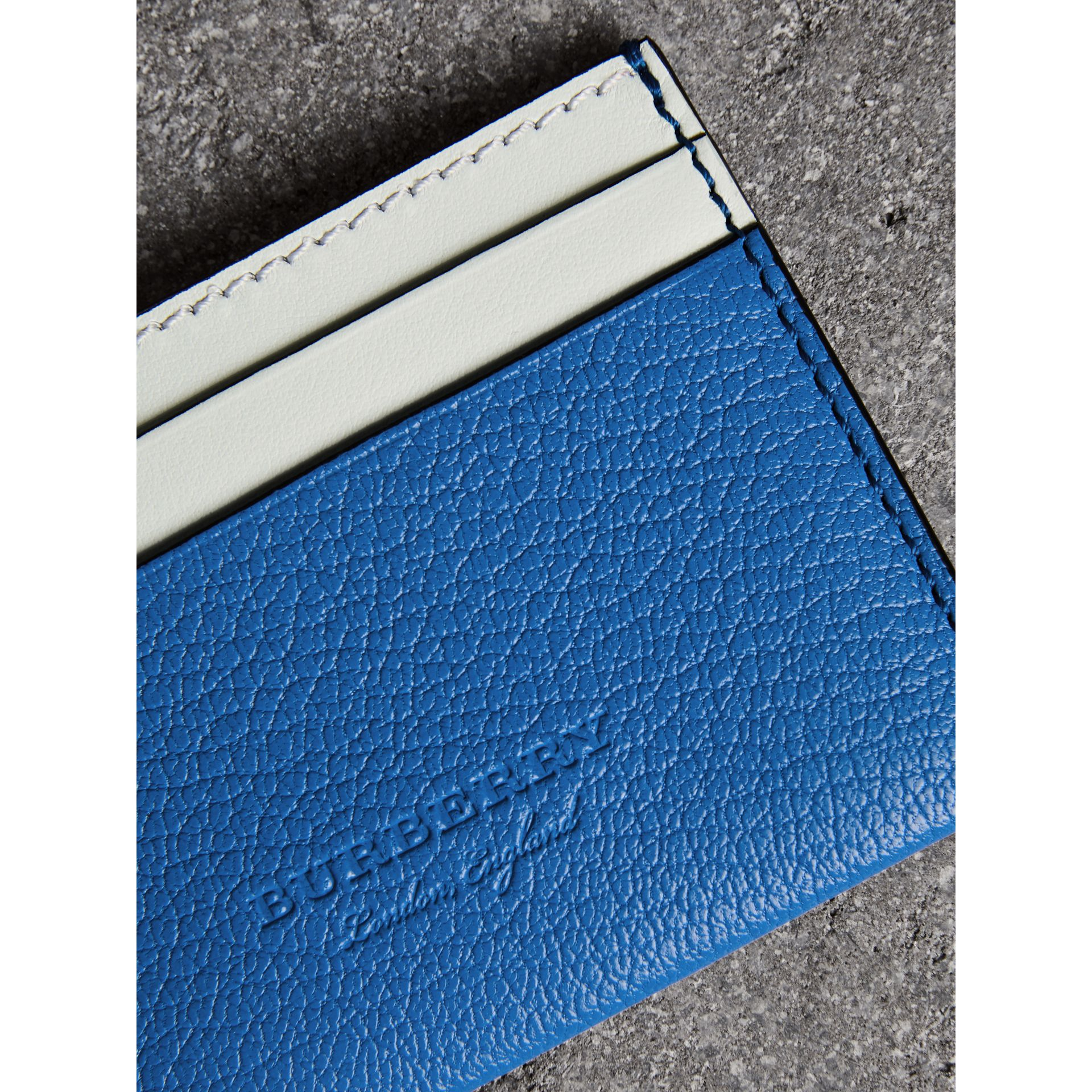 Two-tone Leather Card Case in Hydrangea Blue | Burberry - gallery image 1