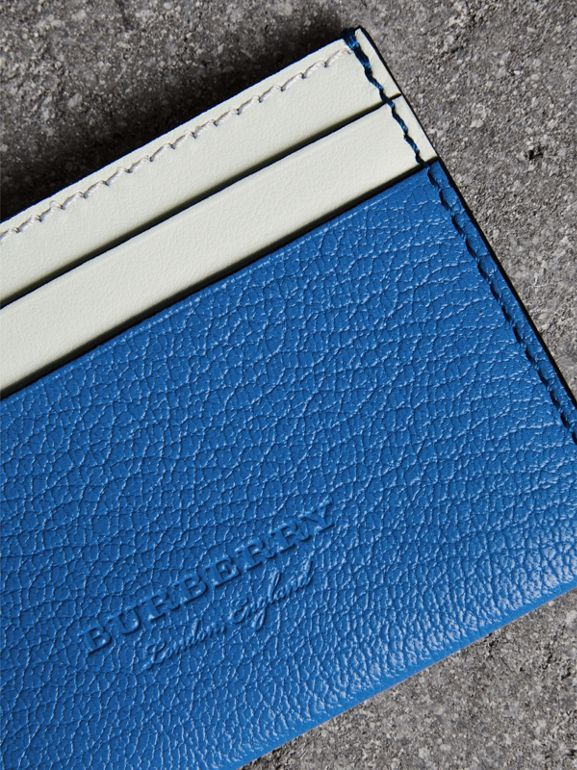 Two-tone Leather Card Case in Hydrangea Blue | Burberry - cell image 1