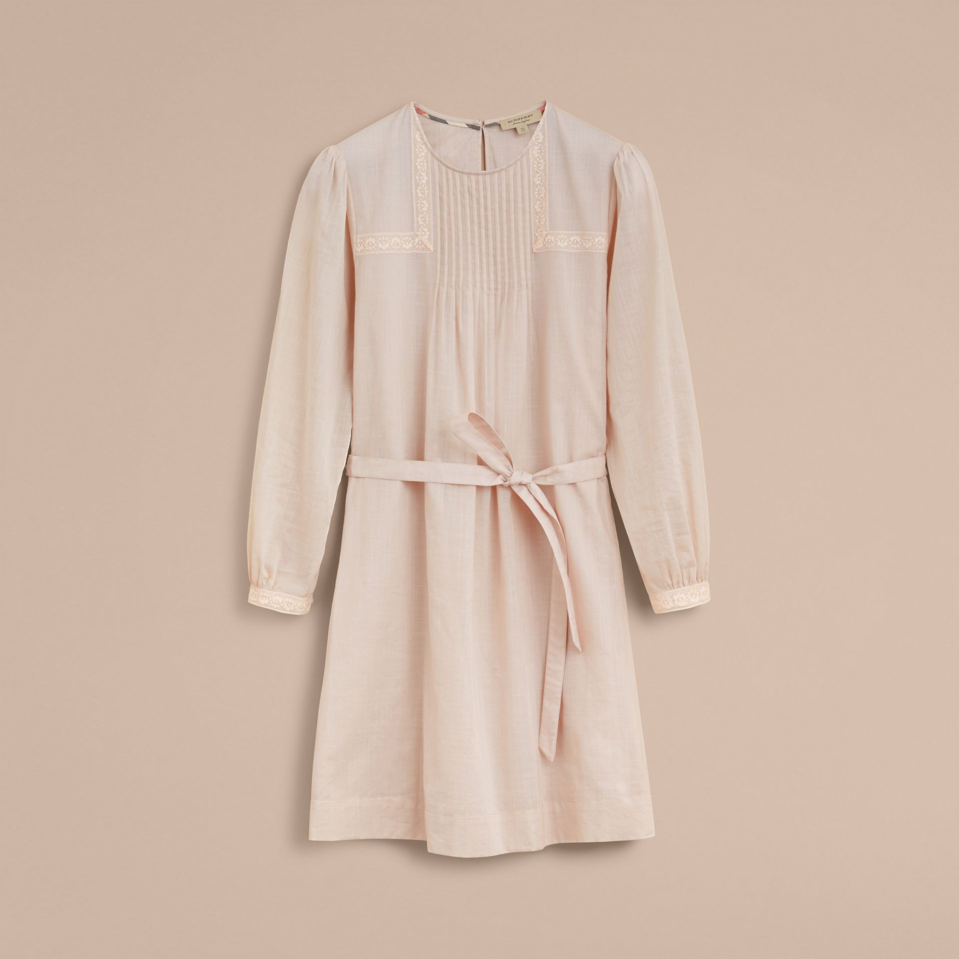 Pintuck and Lace Detail Cotton Dress in Chalk Pink - Women | Burberry - gallery image 4