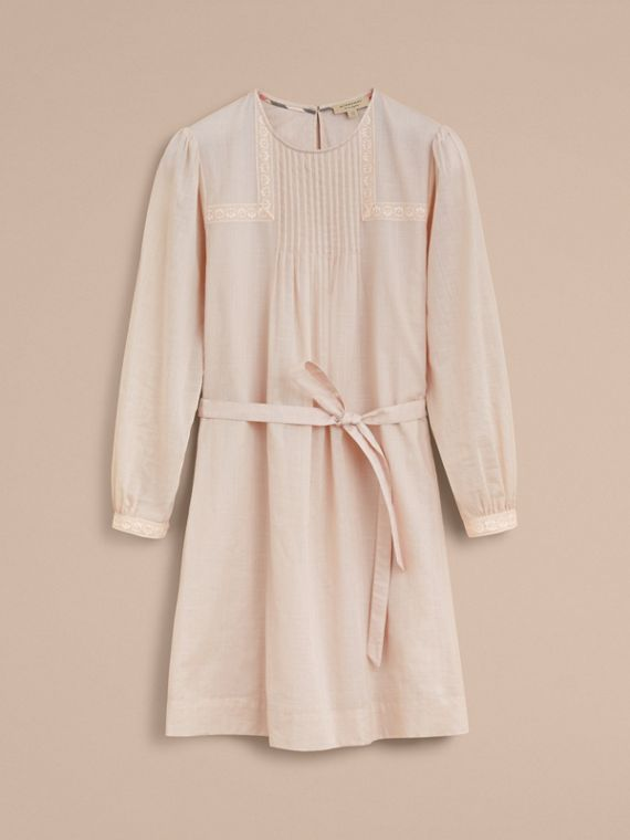 Pintuck and Lace Detail Cotton Dress in Chalk Pink - Women | Burberry - cell image 3