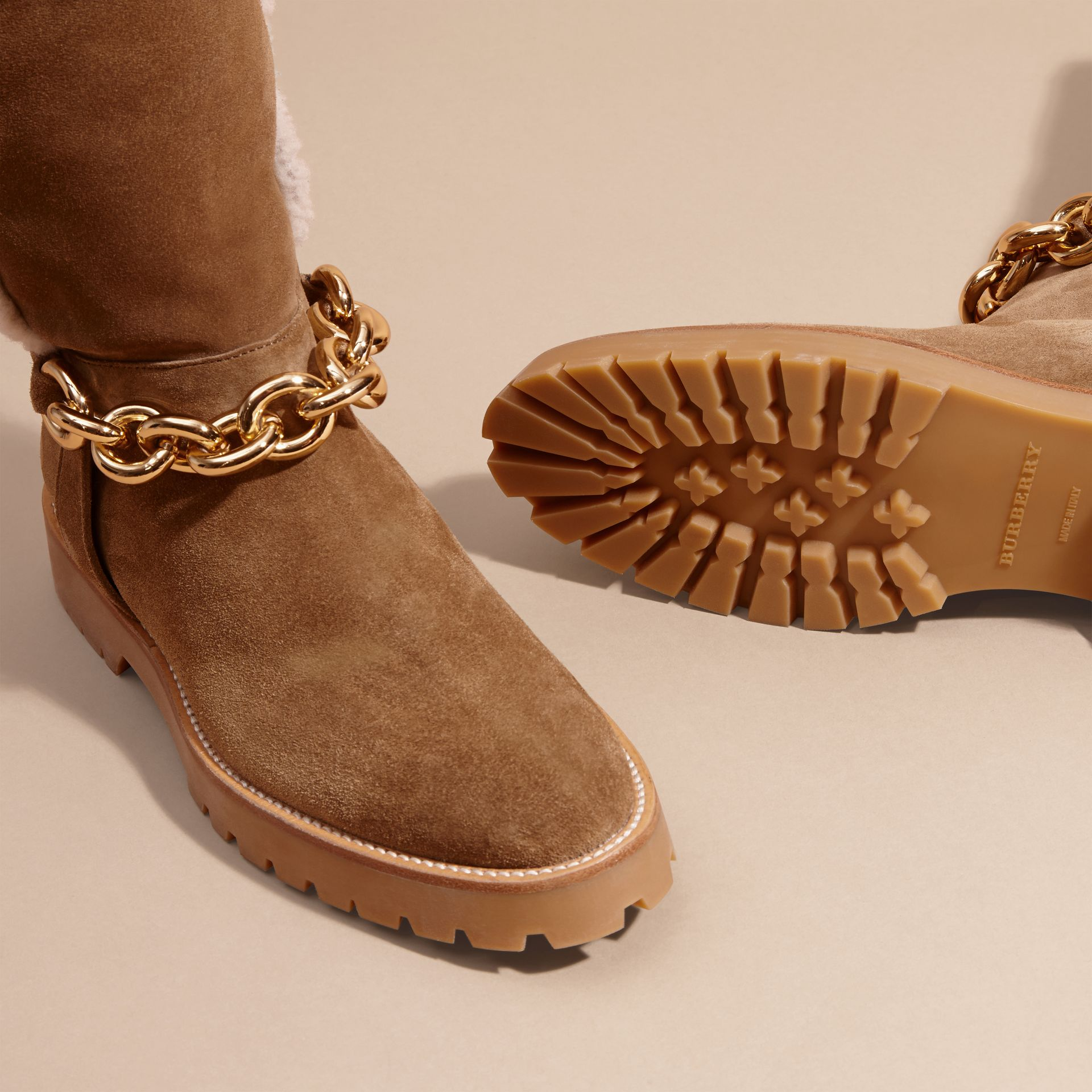Light oak brown Chain Detail Shearling and Suede Boots - gallery image 5