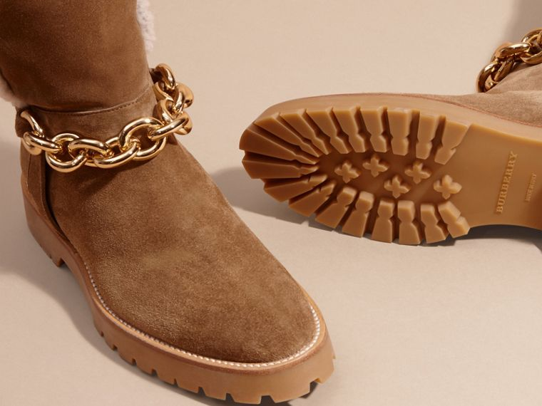 Light oak brown Chain Detail Shearling and Suede Boots - cell image 4