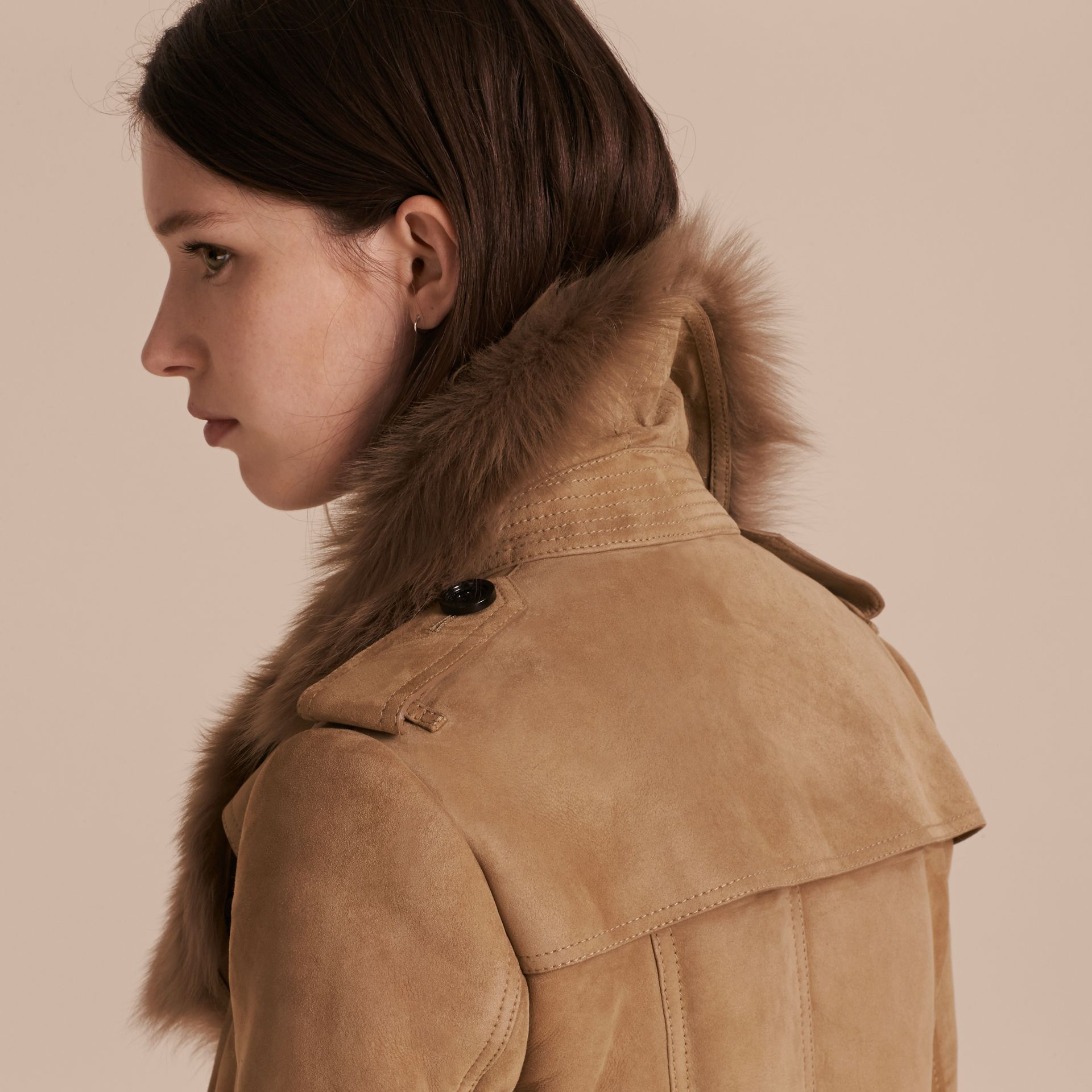 Camel Shearling Trench Coat - gallery image 6
