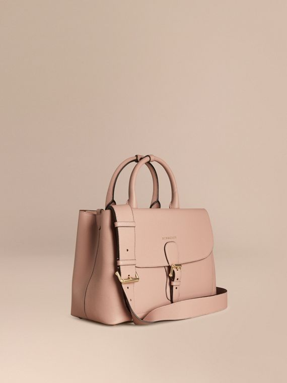 The Medium Saddle Bag in Grainy Bonded Leather Pale Orchid