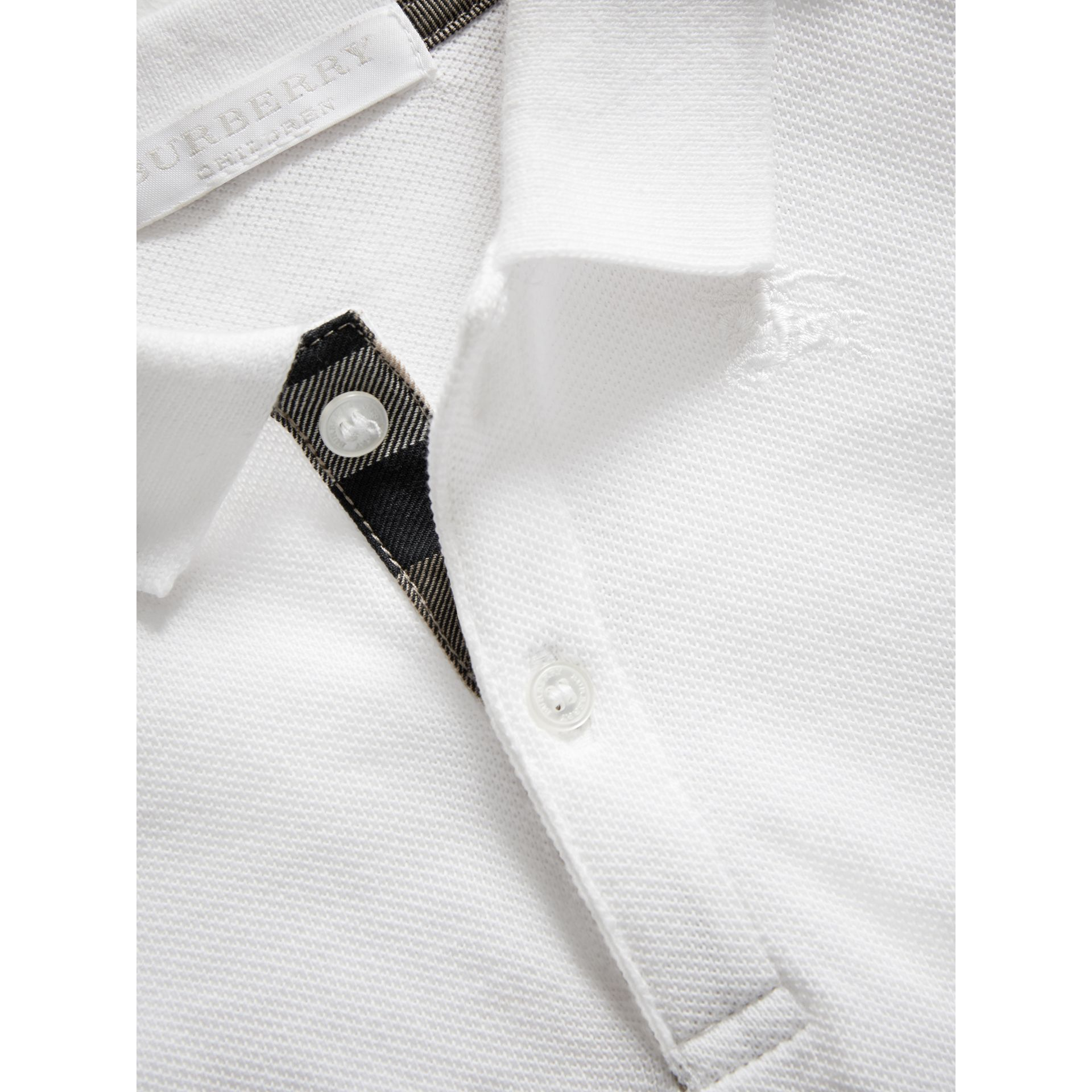 Cotton Piqué Polo Shirt in White | Burberry - gallery image 1