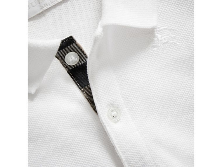 Cotton Piqué Polo Shirt in White | Burberry United Kingdom - cell image 1