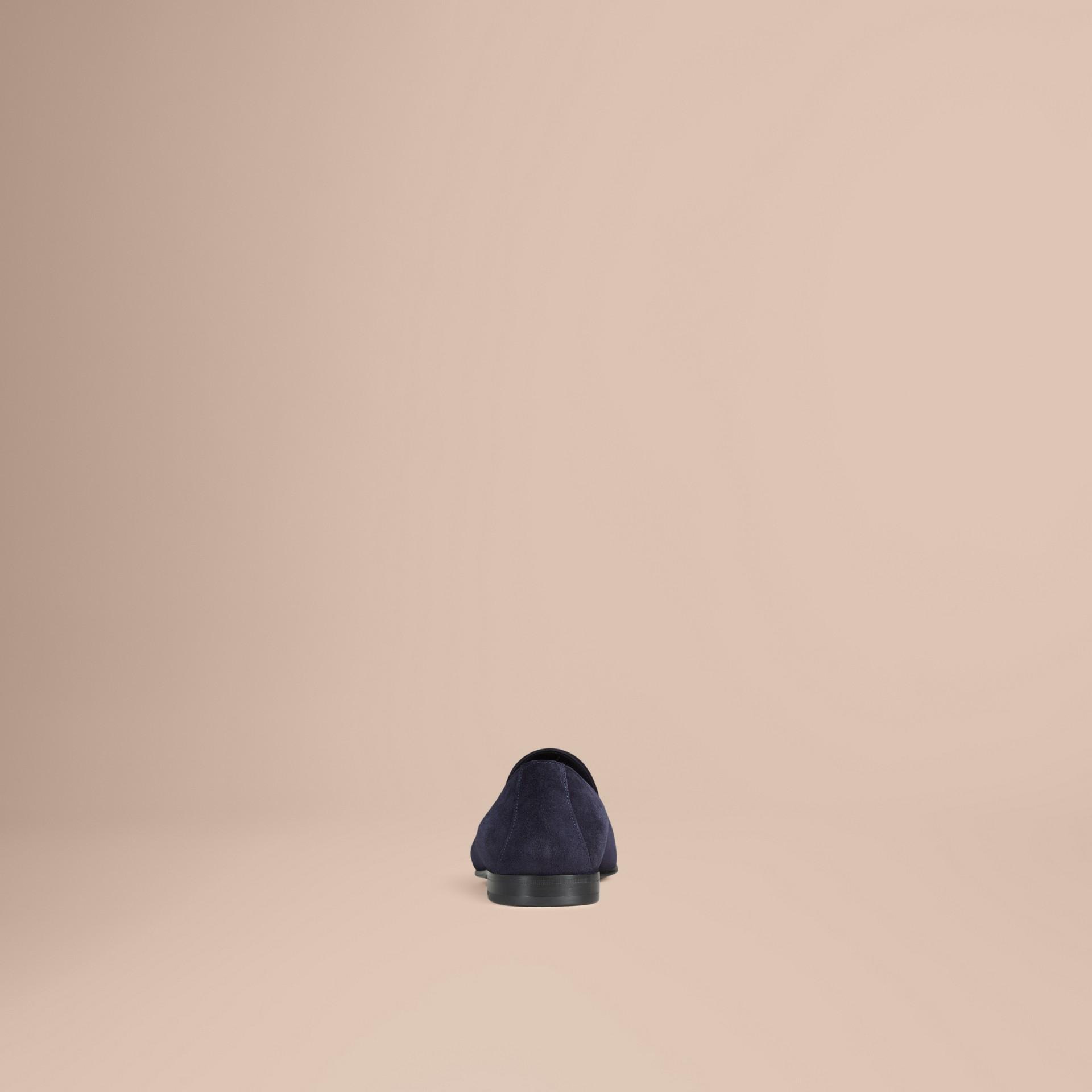 Blu notte/navy Mocassini con nappe in pelle scamosciata a taglio intero Blu Notte/navy - immagine della galleria 4