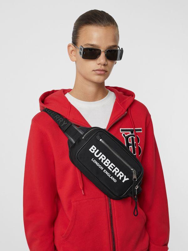 Logo Print ECONYL® Bum Bag in Black | Burberry United States - cell image 2