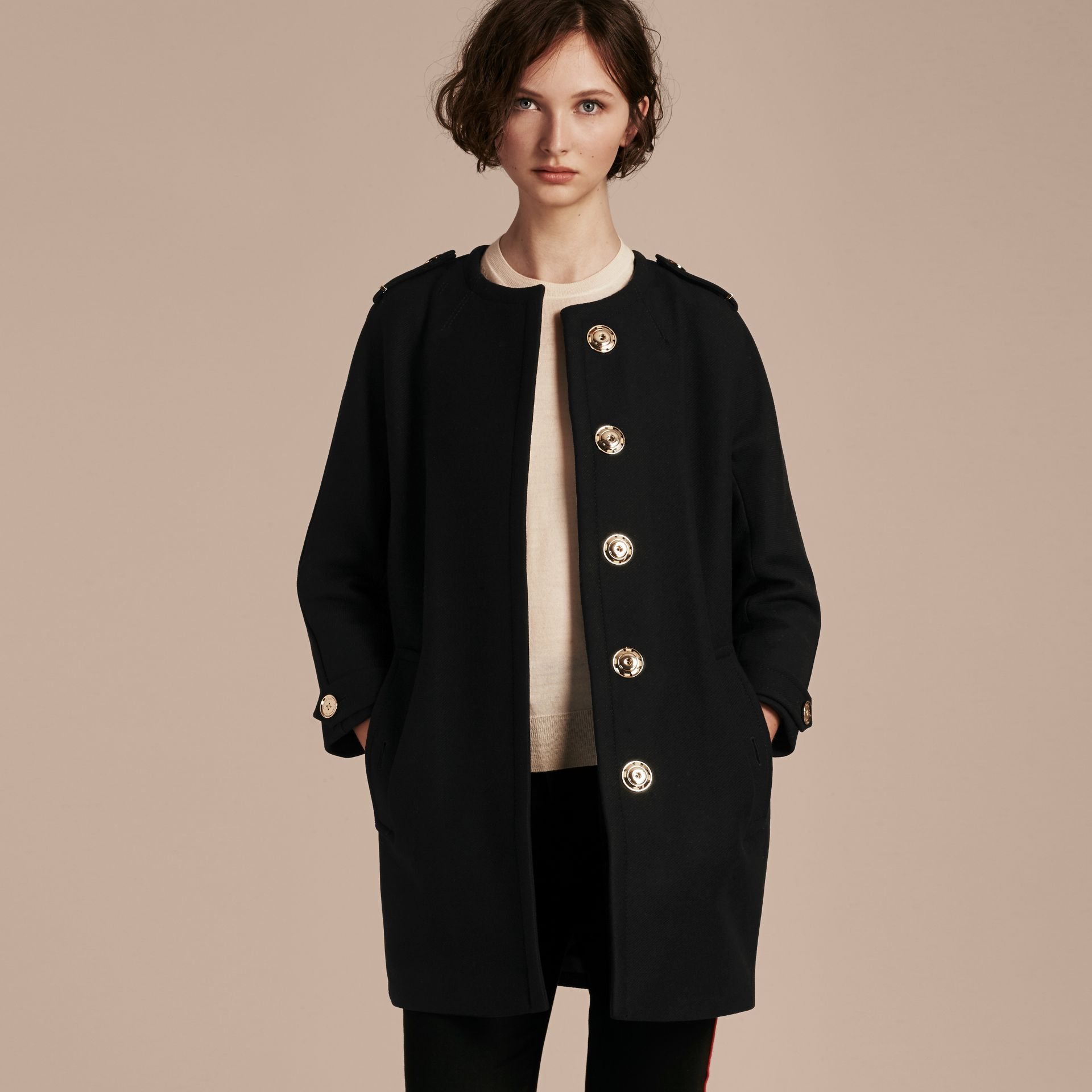 Technical Wool Cashmere Collarless Coat in Black - gallery image 7
