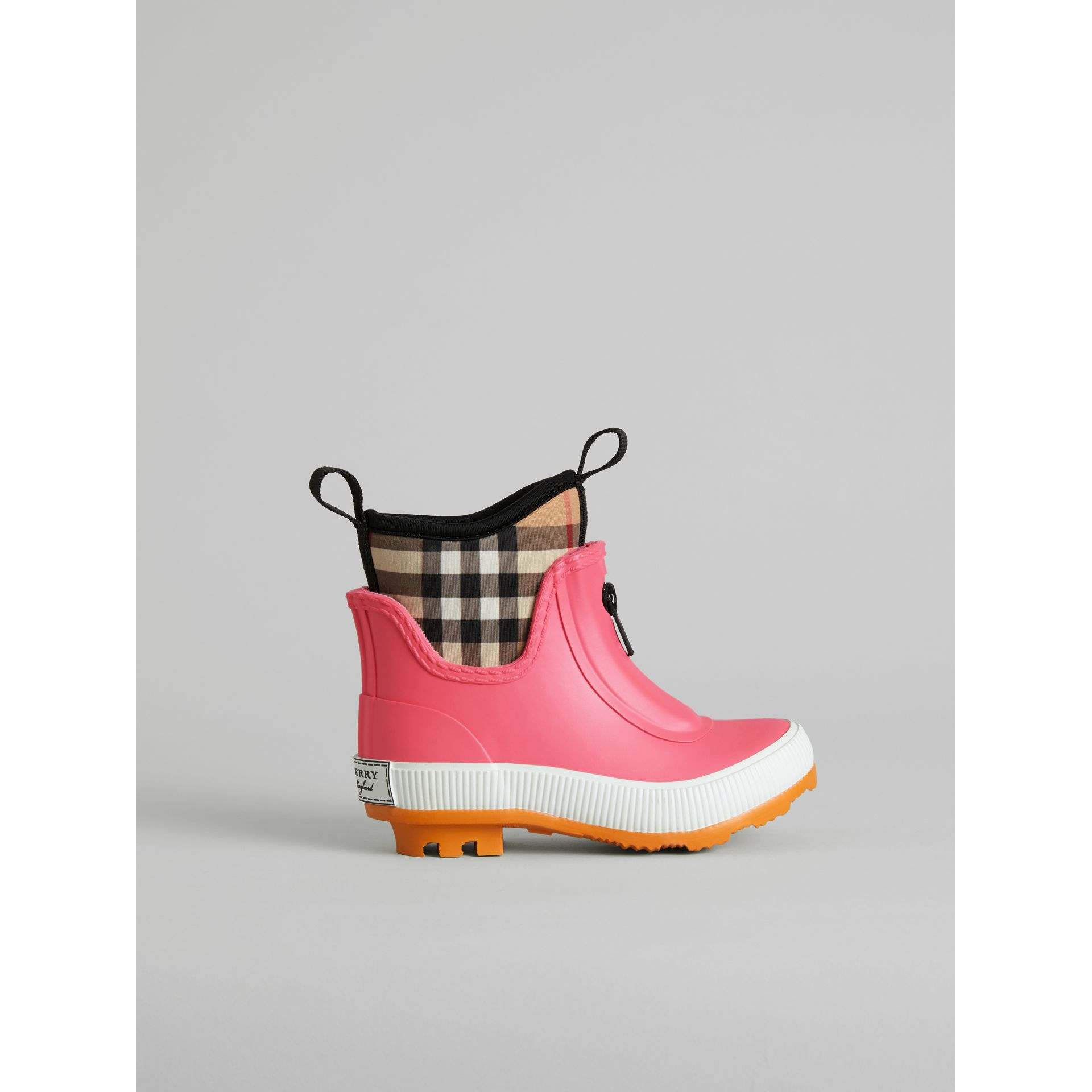 Vintage Check Neoprene and Rubber Rain Boots in Pink Azalea - Children | Burberry - gallery image 3