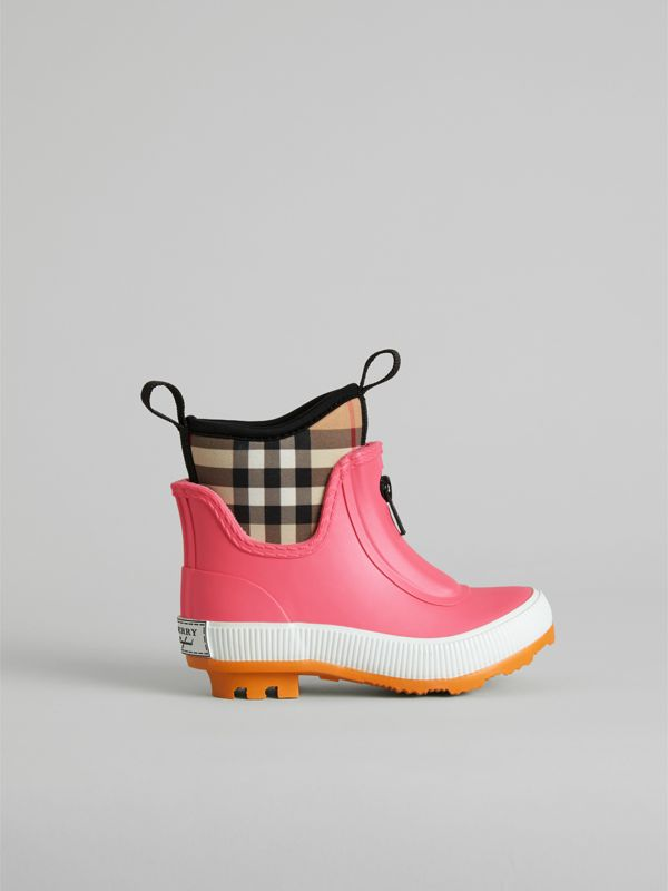 Vintage Check Neoprene and Rubber Rain Boots in Pink Azalea - Children | Burberry - cell image 3