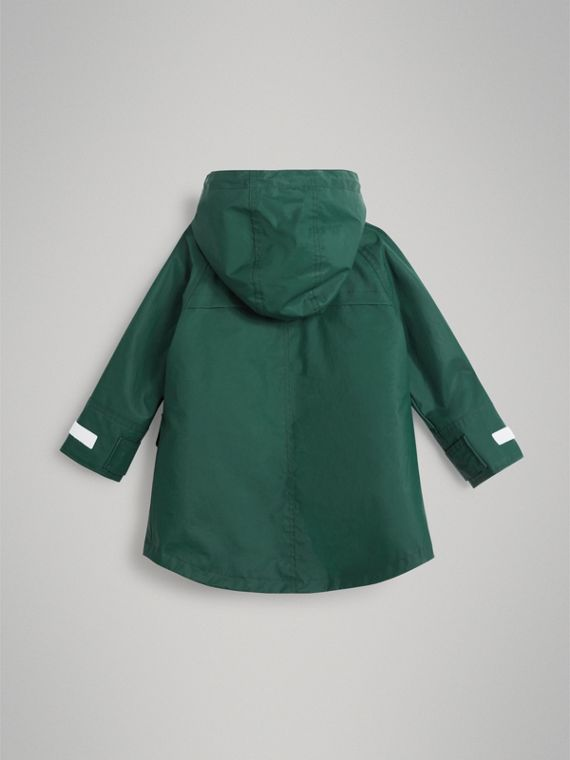 Cotton Blend Hooded Parka with Detachable Warmer in Forest Green - Boy | Burberry - cell image 3