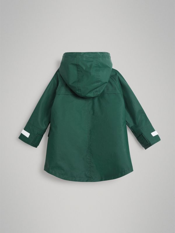 Cotton Blend Hooded Parka with Detachable Warmer in Forest Green | Burberry - cell image 3