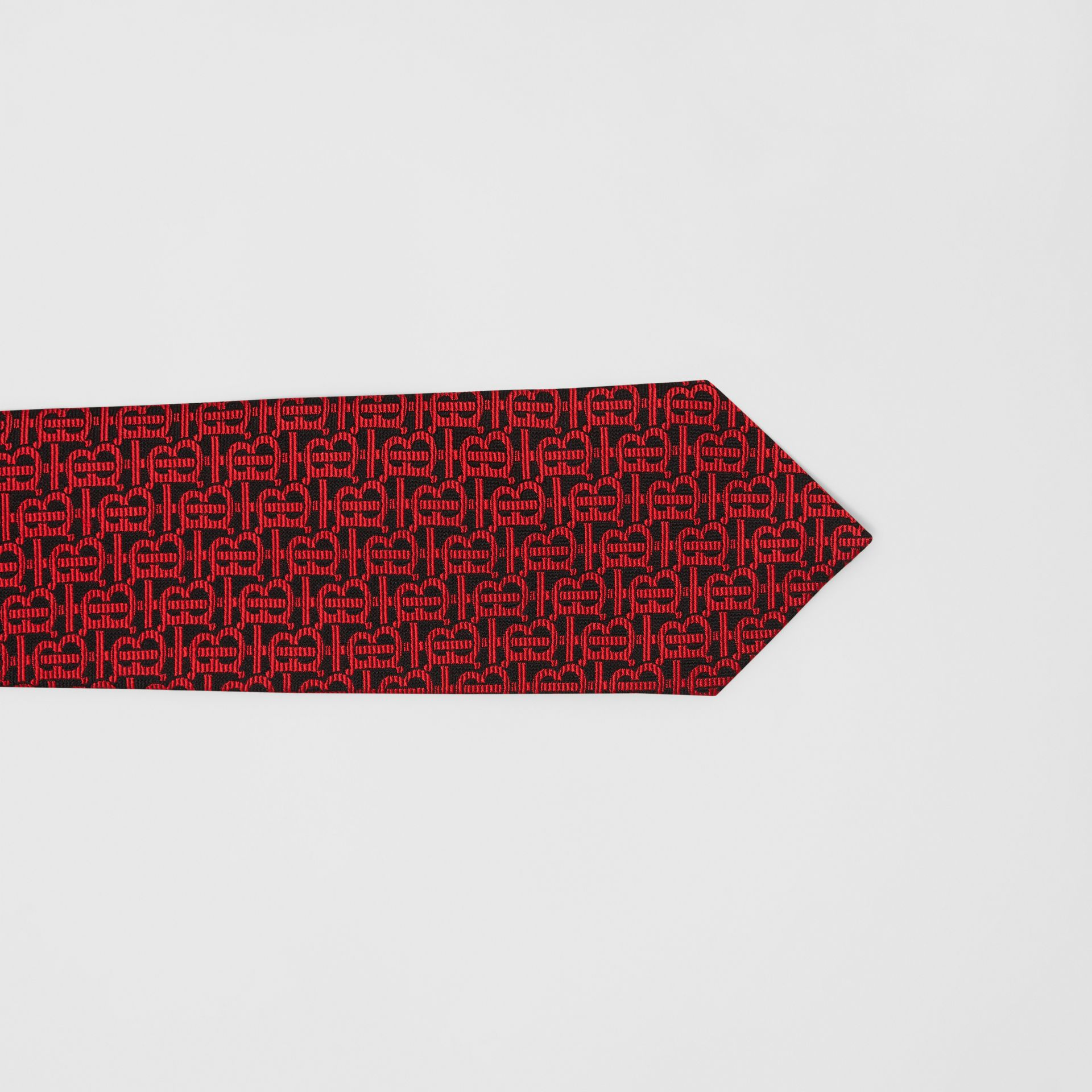 Classic Cut Monogram Silk Jacquard Tie in Bright Red - Men | Burberry - gallery image 1