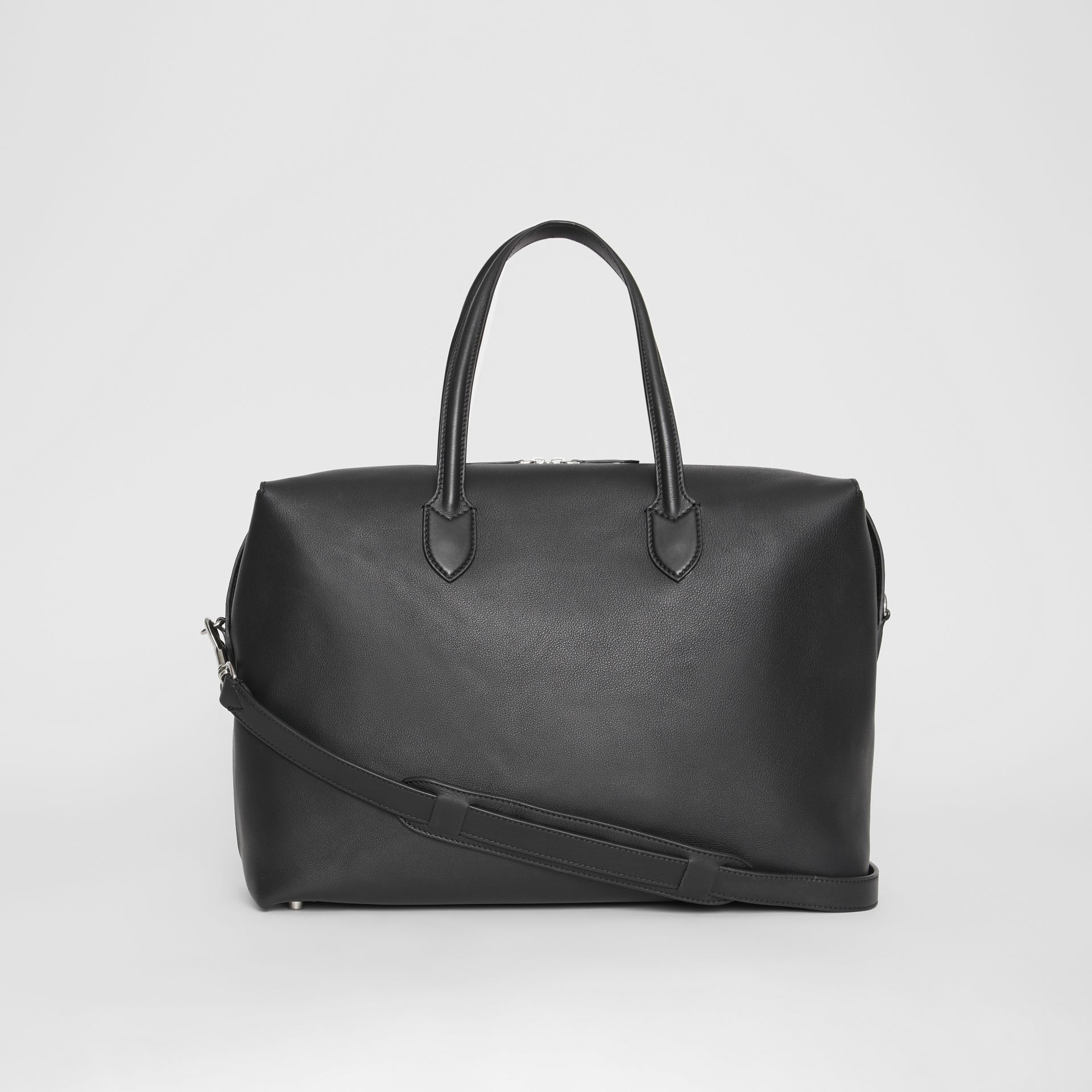 Soft Leather Holdall in Black - Men | Burberry - gallery image 7