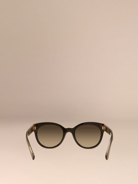 Black Check Detail Oval Polarised Sunglasses - cell image 3