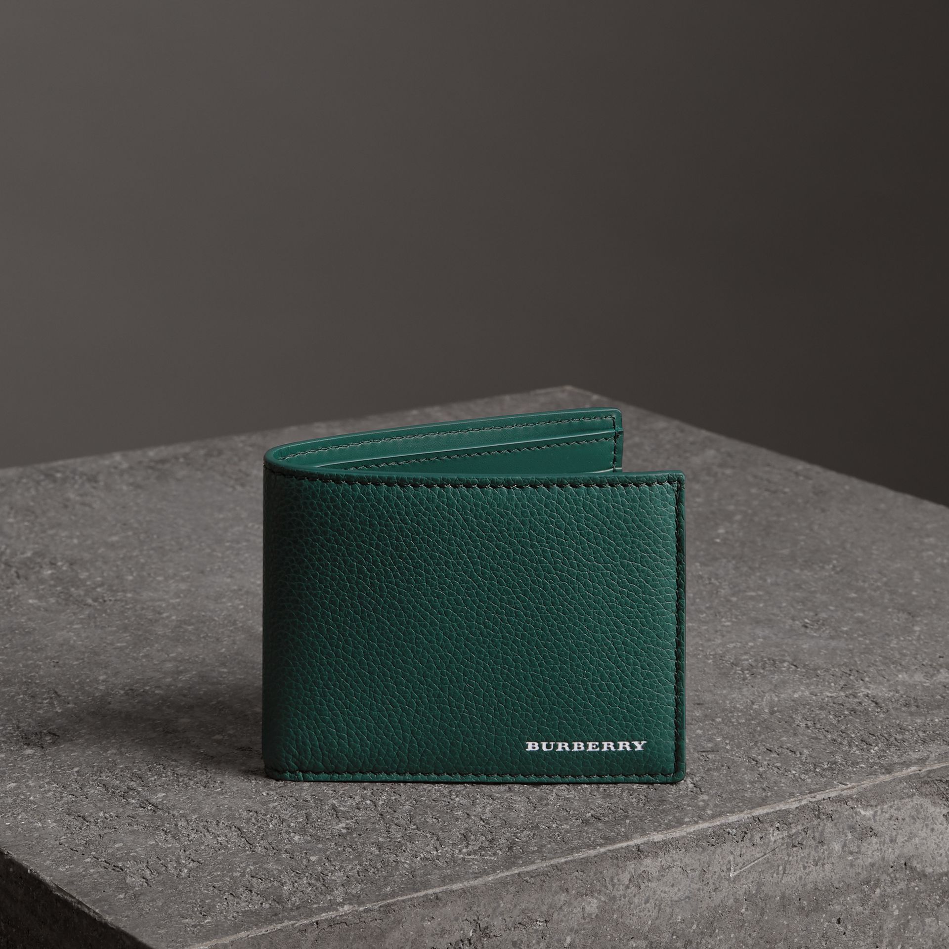 Grainy Leather Bifold Wallet in Dark Cyan - Men | Burberry Canada - gallery image 0