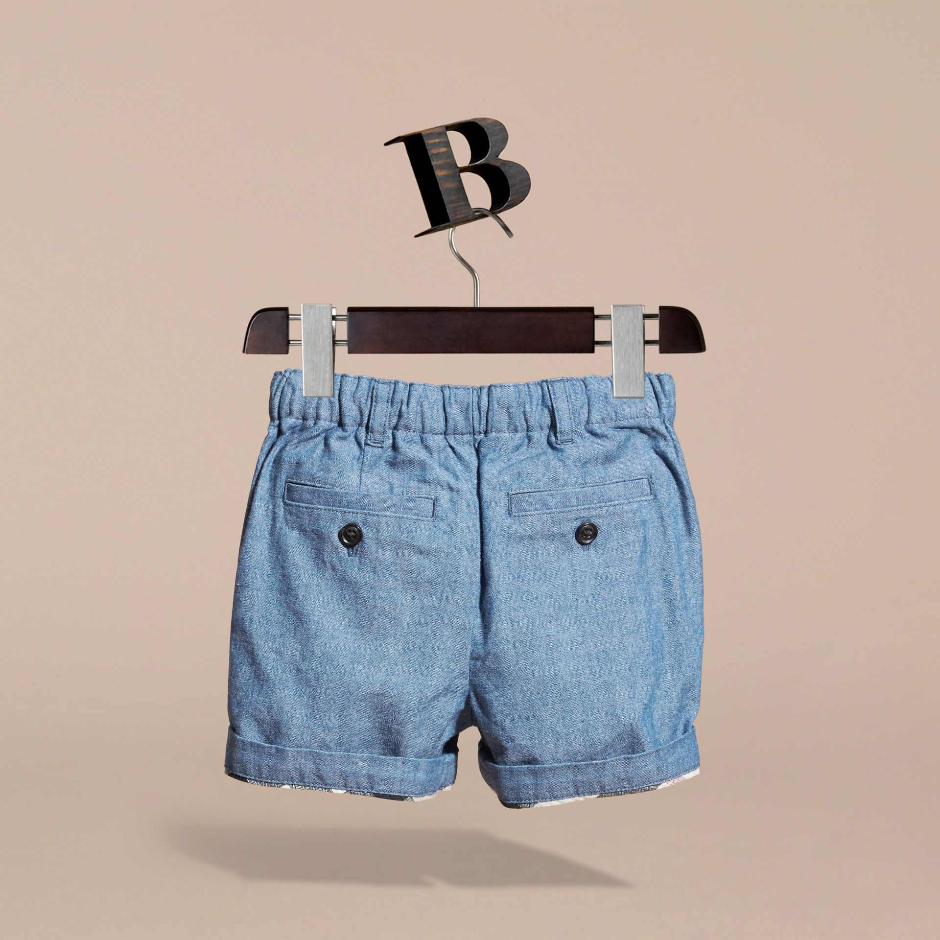 Cotton Chambray Shorts in Stone Blue | Burberry - gallery image 4