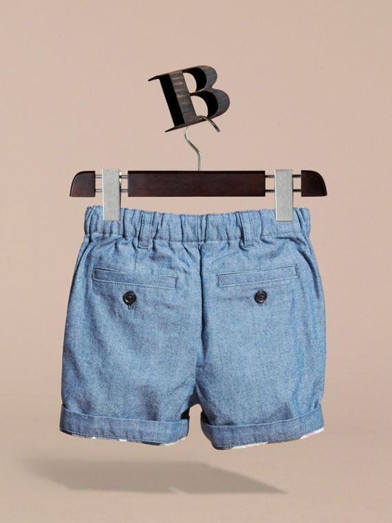 Cotton Chambray Shorts in Stone Blue | Burberry - cell image 3