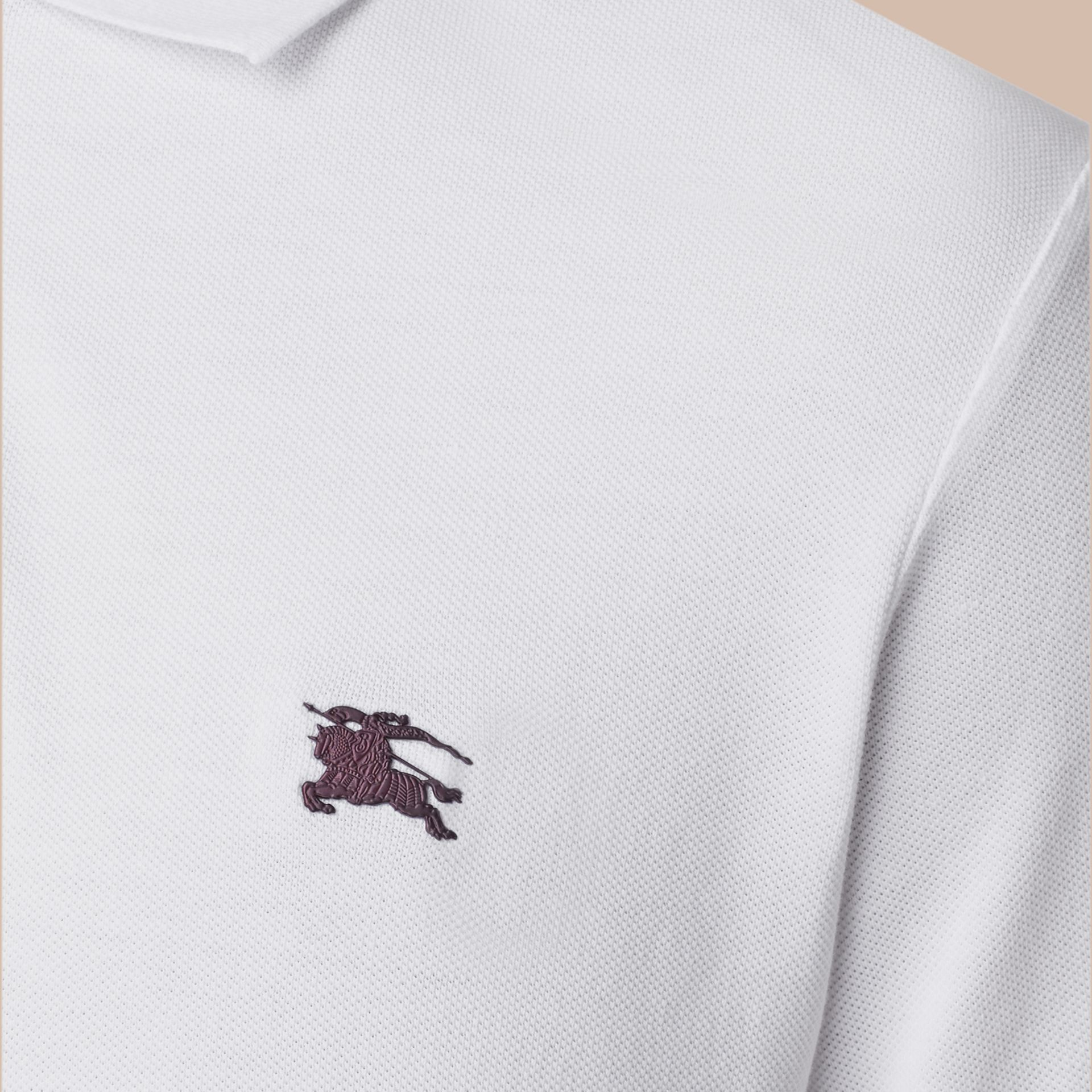 White Contrast Cuff Cotton Piqué Polo Shirt White - gallery image 3