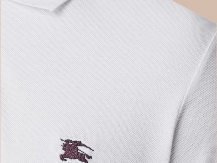 White Contrast Cuff Cotton Piqué Polo Shirt White - cell image 2