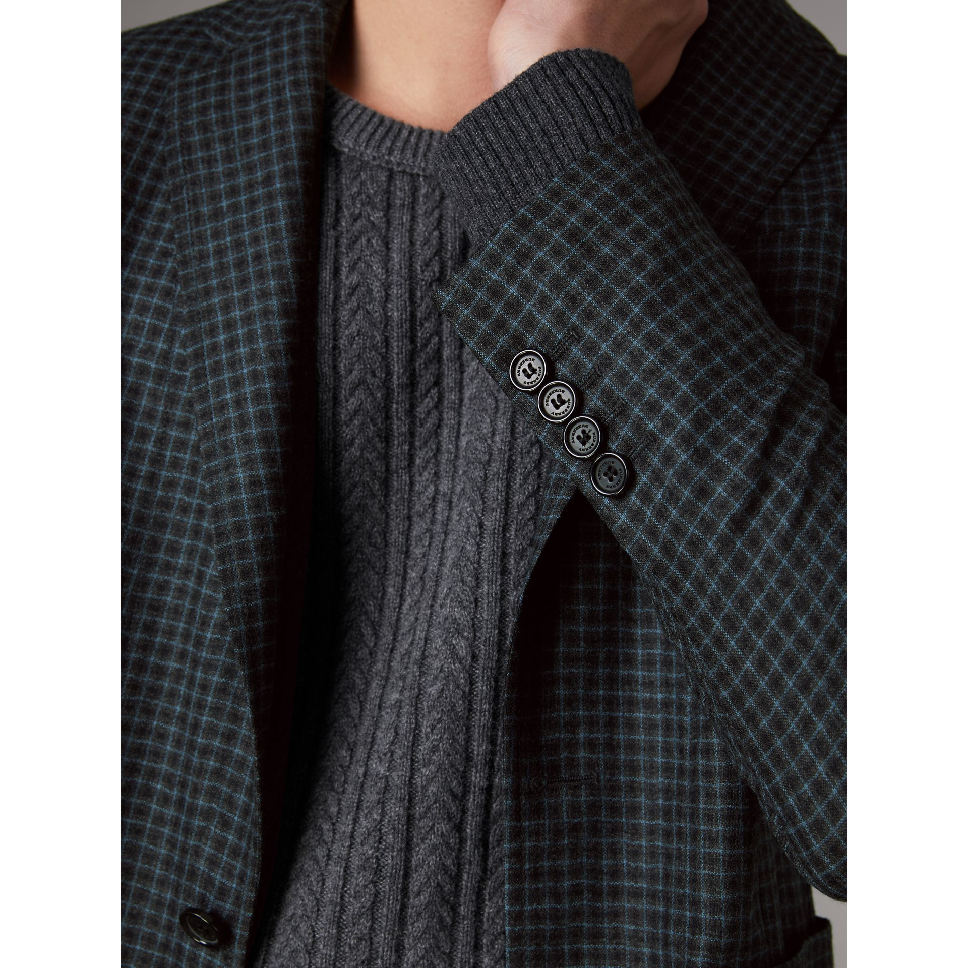 Soho Fit Micro Check Wool Flannel Tailored Jacket in Dark Grey Melange - Men | Burberry Canada - gallery image 4