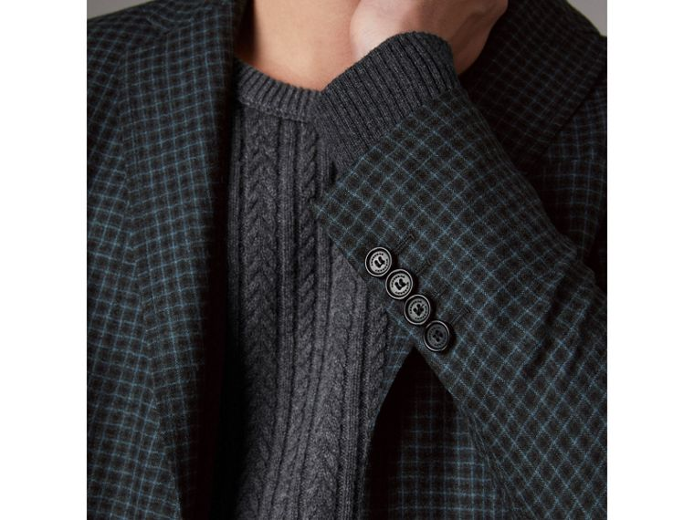 Soho Fit Micro Check Wool Flannel Tailored Jacket in Dark Grey Melange - Men | Burberry - cell image 4