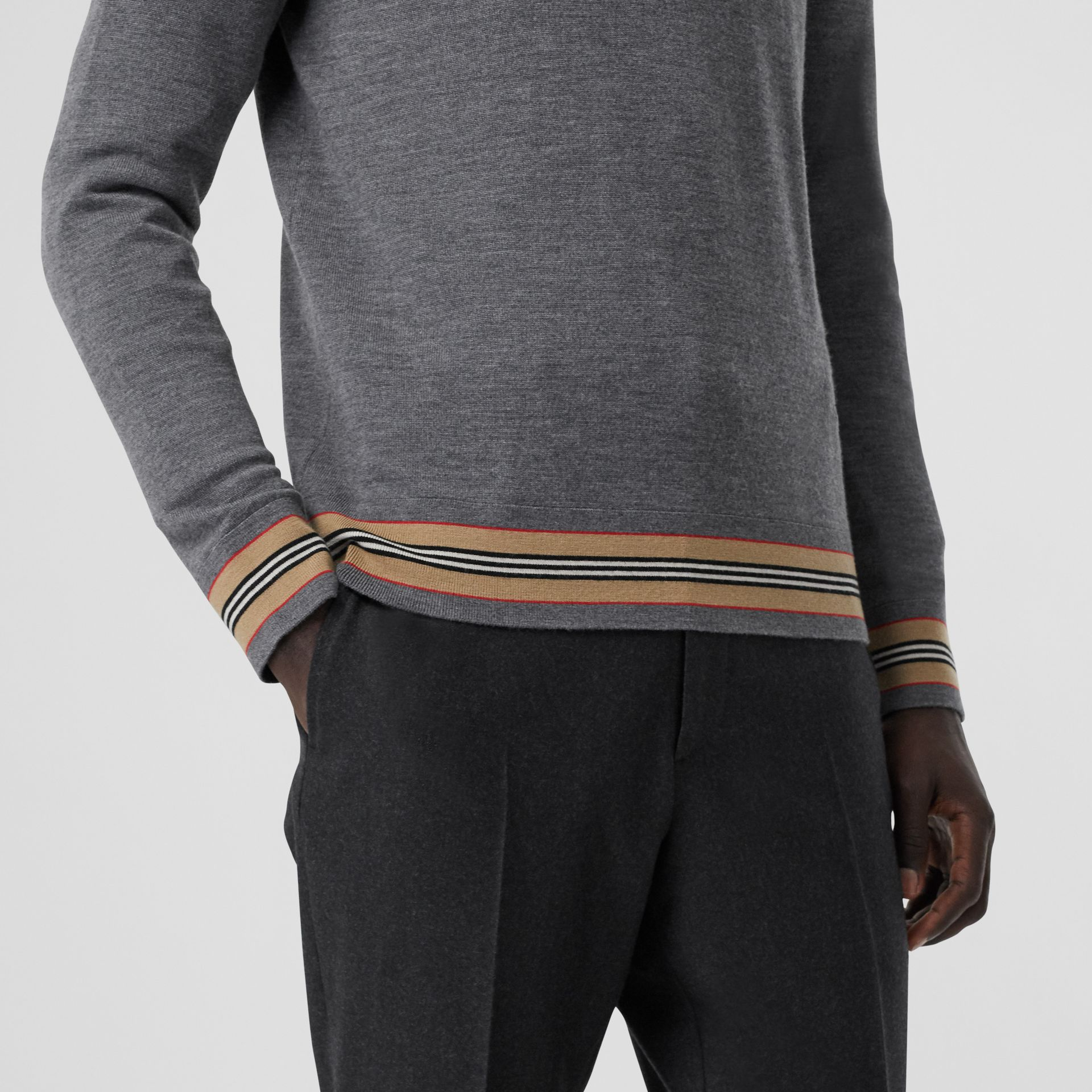 Icon Stripe Detail Merino Wool Sweater in Dark Grey Melange - Men | Burberry Australia - gallery image 1