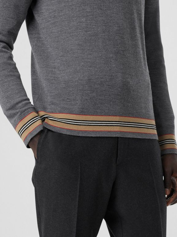 Icon Stripe Detail Merino Wool Sweater in Dark Grey Melange - Men | Burberry Australia - cell image 1