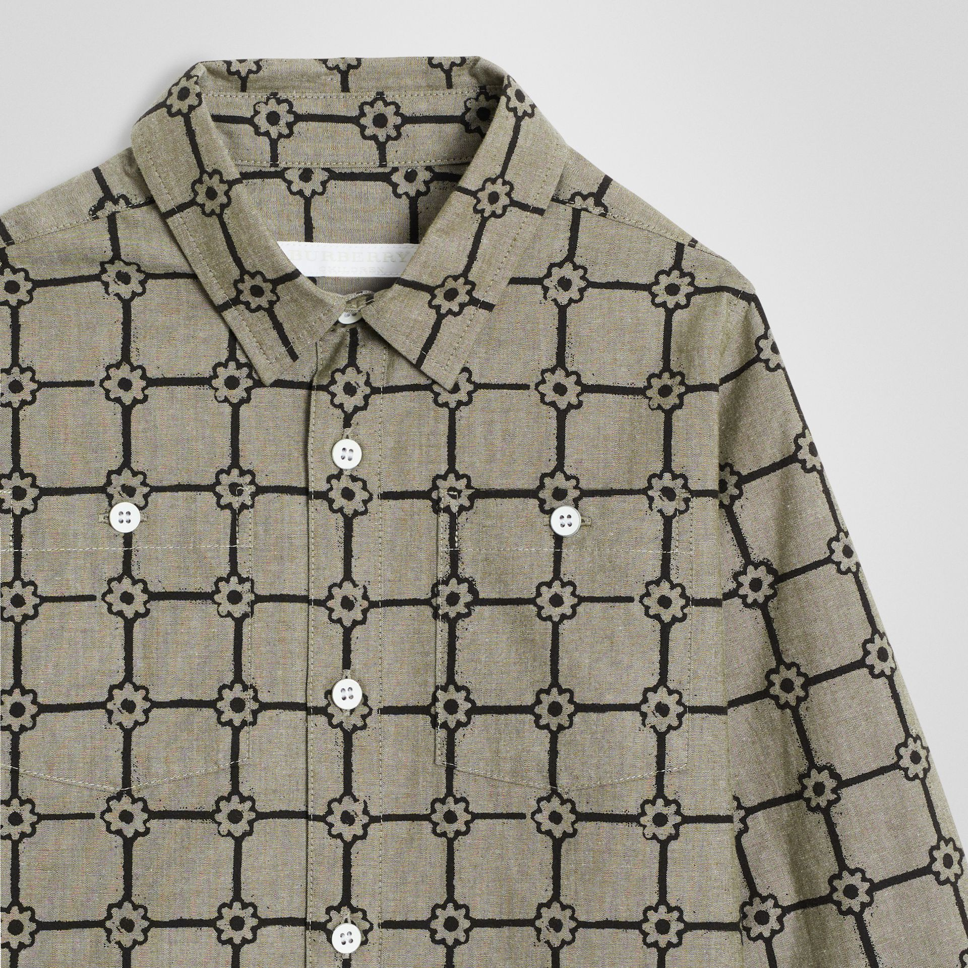 Flower Print Cotton Shirt in Khaki | Burberry Australia - gallery image 4