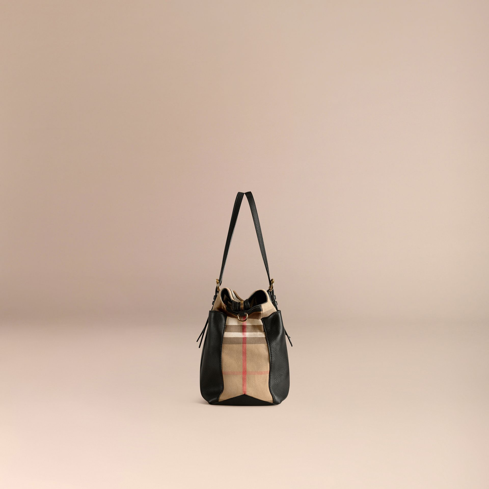 House Check and Leather Baby Changing Bag in Black - gallery image 4