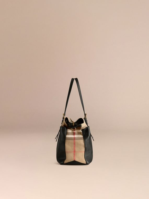House Check and Leather Baby Changing Bag in Black - cell image 3