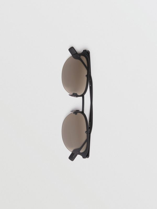 Round Frame Sunglasses in Black - Men | Burberry United Kingdom - cell image 3
