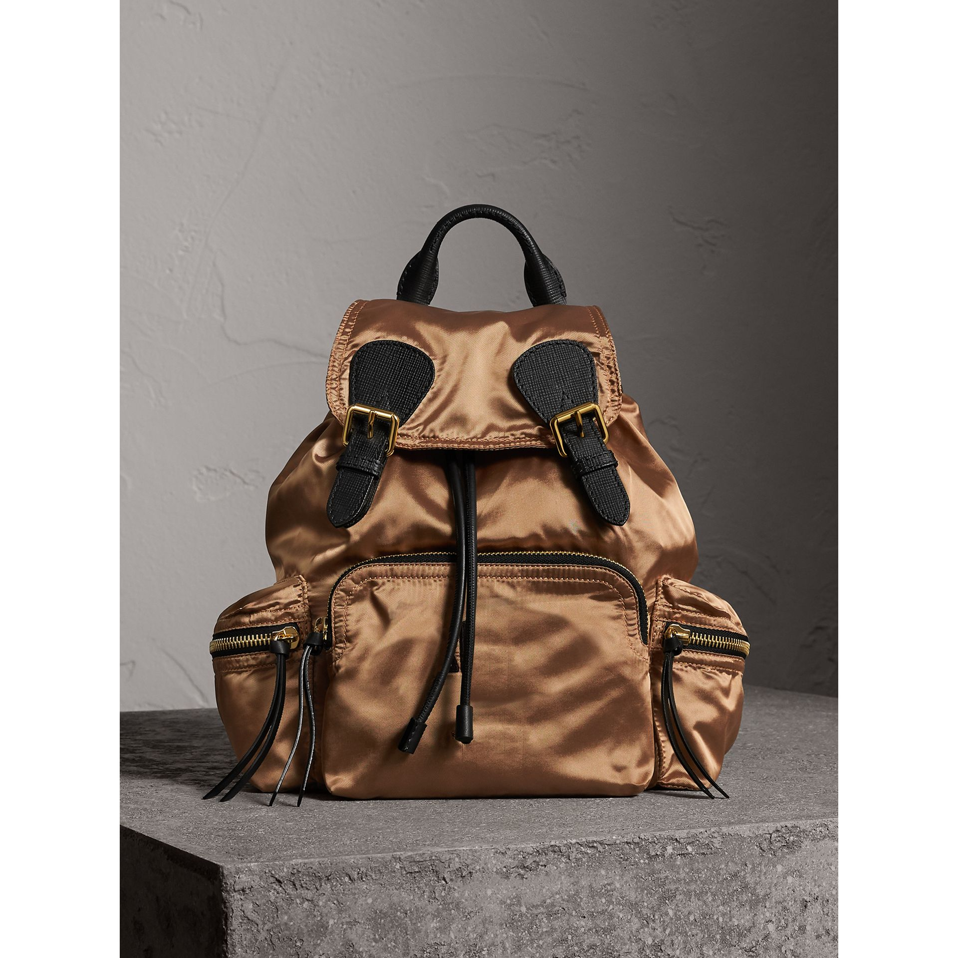 The Medium Rucksack in Two-tone Nylon and Leather in Gold/black - Women | Burberry United States - gallery image 7
