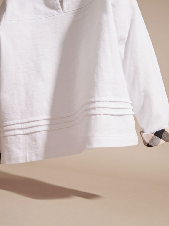 White Long-sleeved Check Detail Cotton T-shirt - cell image 3