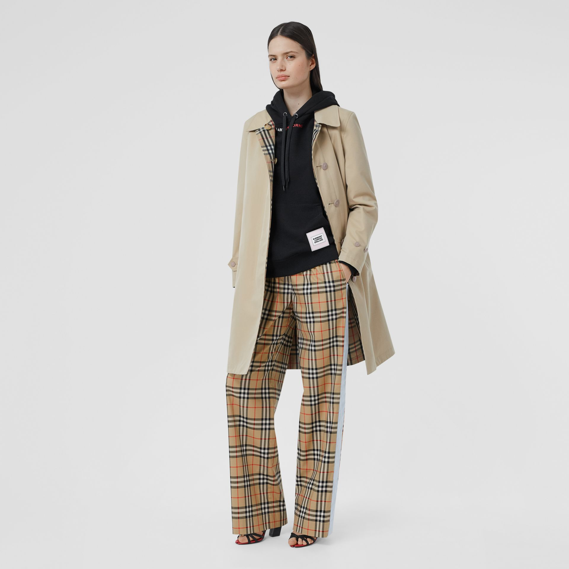 Vintage Check Stretch Cotton Trousers in Archive Beige - Women | Burberry - gallery image 0