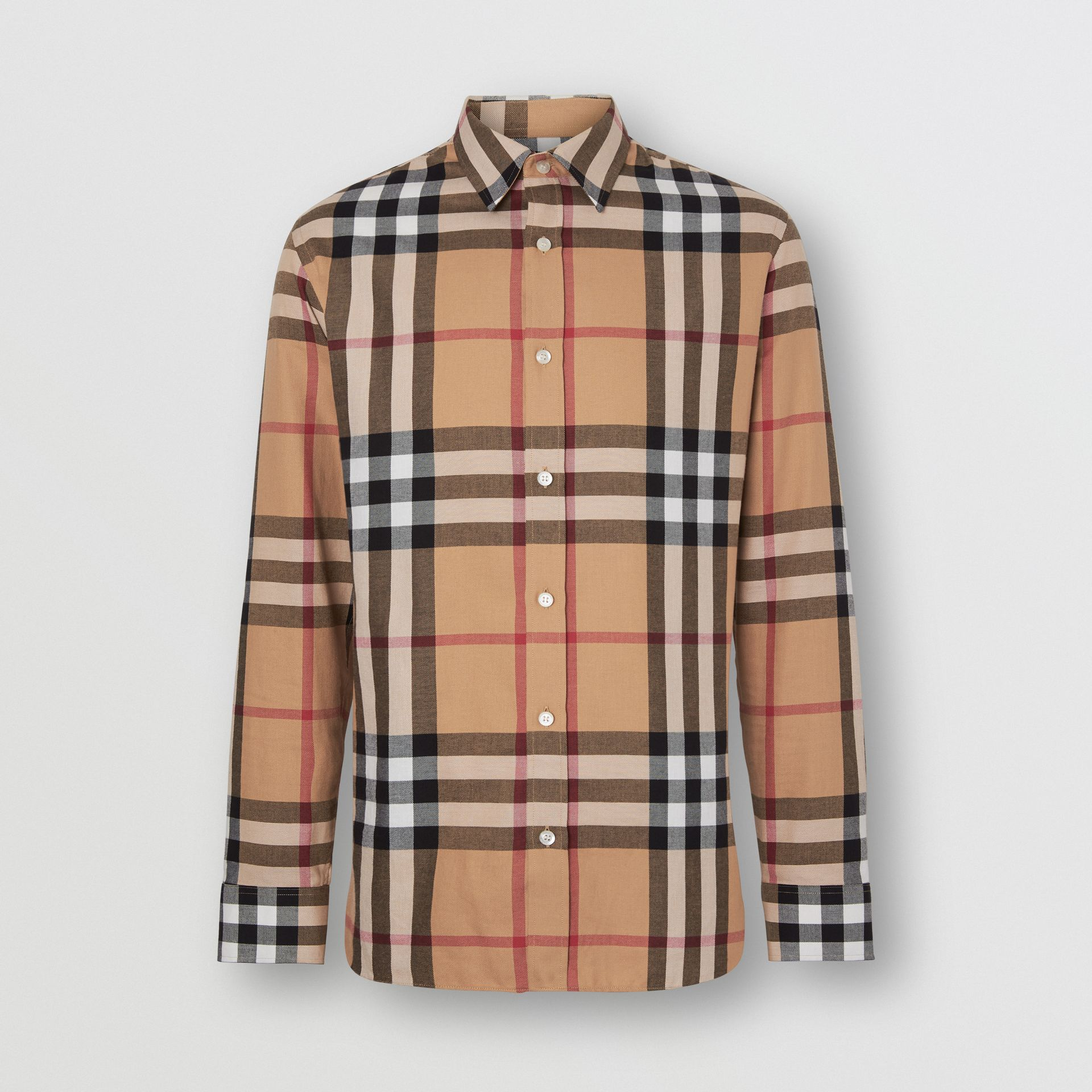 Check Cotton Flannel Shirt in Camel - Men | Burberry - gallery image 3