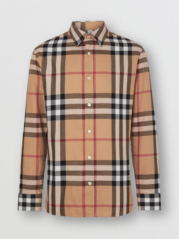 Check Cotton Flannel Shirt in Camel