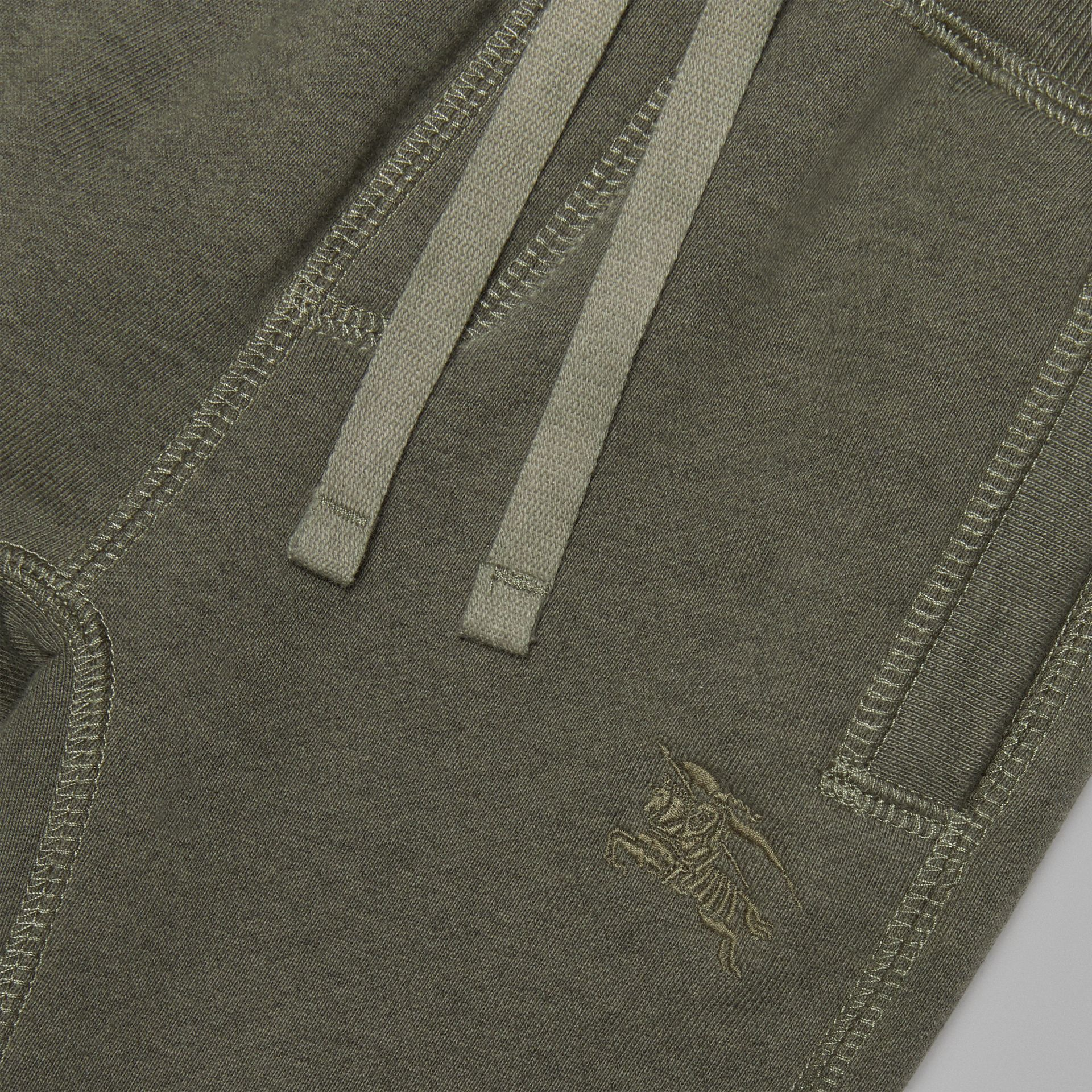 Embroidered Logo Cotton Trackpants in Olive Melange - Children | Burberry Canada - gallery image 1